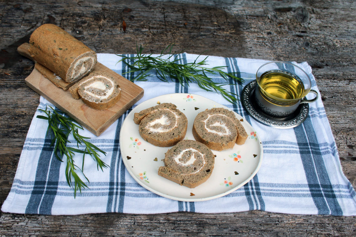 Buckwheat tarragon swiss roll
